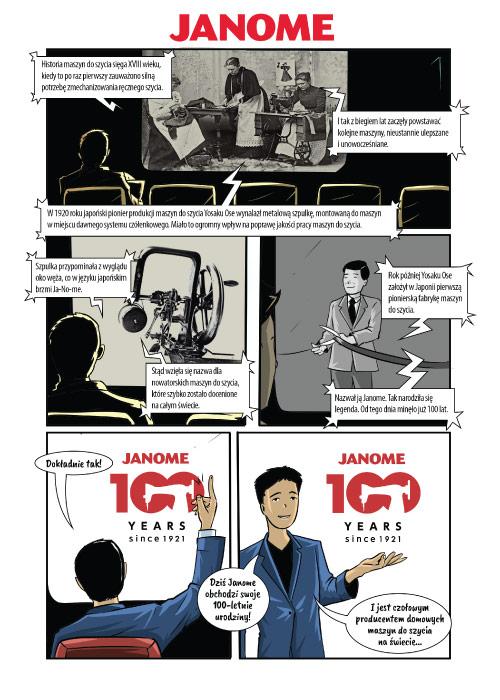 Komiks z okazji 100 lat Janome