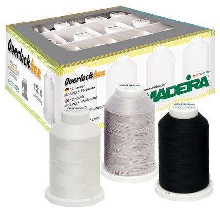 Zestaw nici owerlokowych standardowych Aerolock i elastycznych Aeroflock Madeira (12 szpulek)