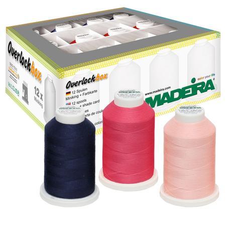 Zestaw nici owerlokowych standardowej Aerolock i elastycznej Aeroflock Madeira (12 szpulek), fig. 1