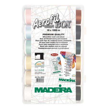 Zestaw 18 nici do szycia o długości 1000 m - Maderia Aerofil