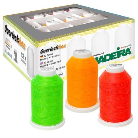 Zestaw nici owerlokowych w intensywnie jaskrawych kolorach Madeira Aerolock (12 szpulek po 1200 m)