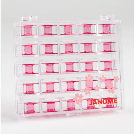 Komplet różowych szpulek Janome w pudełku (25 szt.), fig. 2