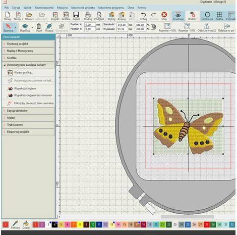 Podstawowy program do projektowania haftów Janome Digitizer JR v5.5, fig. 3