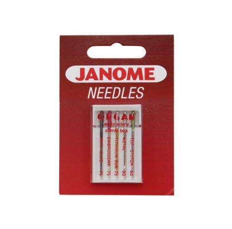 Igły Janome do haftowania mix - 5 szt. o grubości 75, 80 i 90, fig. 1