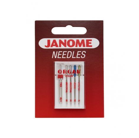 Igły Janome mix - uniwersalne, do jeansu, stretchu i podwójna  - 5 szt. o grubościach 75, 80 i 90, fig. 1