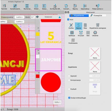 Profesjonalny program do projektowania haftów Janome Artistic Digitizer, fig. 5