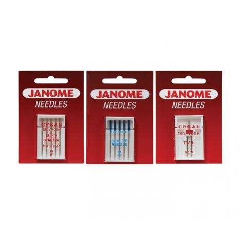 Komplet igieł JANOME 4 (z kulką, do tkanin, igła podwójna)